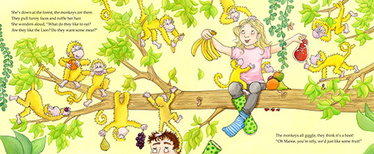Children's book Feeding time at the Zoo Maisie in a tree with monkey's