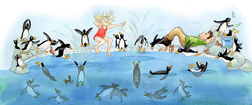 Masie swimming in the pool with the penquins in the childrens book Fun and Games in the Zoo by KAMA publishing